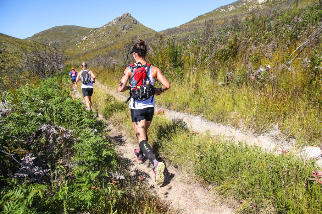 Trail runners, including Beatrice de Klerk, traversing the sandy tracks leading to the Attakwaskloof.
